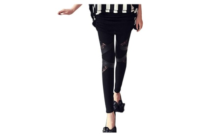 Womens PU Leather Pants Lace Skinny Stretch Leggings Pencil Trousers