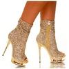 Gold Rhinestone Sparkle Platform Women's Boots
