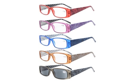 Eyekepper 5-pack polka dots patterned temple reading glasses R006P-Mix b713f347-f2f9-445d-8a71-0eb9bd580e4b