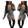 Women's V Neck Off Shoulder Slim Long Sleeve Bodycon Dress