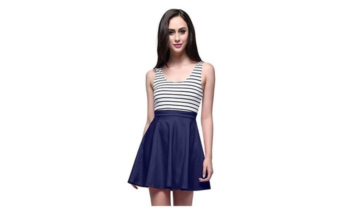 Women's Open Back Sleevless Slim Black White Striped Casual Cute Dress
