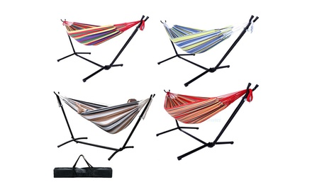 2 Person Patio 440Lbs Portable Hammock w/Space Saving Steel Stand&Carrying Case