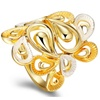 Silver Gold Color Water Drop Shape Multiple Layered Wide Ring