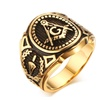 Vintage 316L Stainless Steel Retro Punk Black Gold Men's Ring