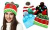 Xmas Christmas LED Light Up Beanies Hat Colorful Lights Flashing Hat Knit Cap
