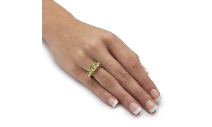 3 03 Tcw Genuine Peridot 14k Gold Silver Ring Groupon