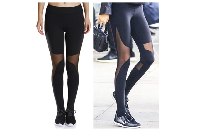 Women Leggings Mesh Patchwork Leggings Skinny Pants