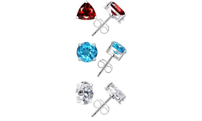 925 Sterling Silver Rhodium Polished Blue Topaz /& CZ Post Earrings