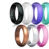 Women's 7 Pack Silicone Rubber Wedding Ring Band Set