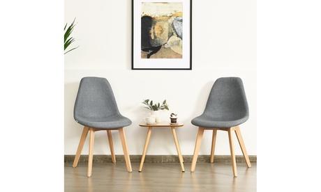 Costway Set of 2 Dining Chair Fabric Cushion Seat Modern Mid Century W/Wood Legs