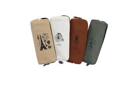 Set of 4 Canvas Pencil Case Cosmetic Bag 71d5d0af-810c-4f5d-9239-ff08a39eb9ad
