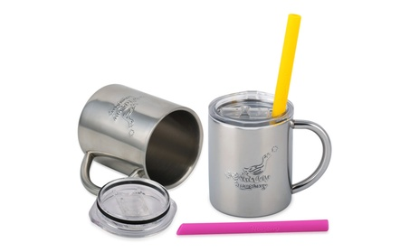 Housavvy Duck Stainless Steel Kids Cups with Lids and Straws, 2 Pack 87dcb061-830f-4dbe-af64-f543f31fa9a9