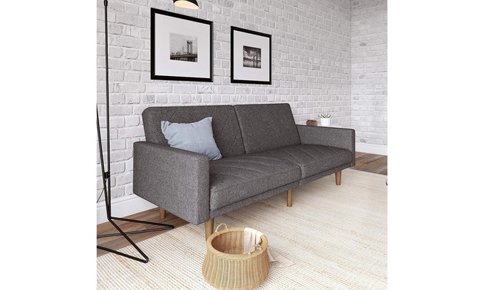 Marvelous Dhp Paxson Convertible Futon Couch Bed Linen Upholstery And Wood Legs Grey Pdpeps Interior Chair Design Pdpepsorg
