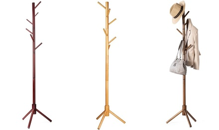 High-Grade Wooden Tree Coat Rack Stand: 6 Hooks & 3 Adjustable Sizes