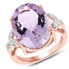 18K Rose Gold 10 1/2 Carat Genuine Pink Amethyst and White Topaz Ring
