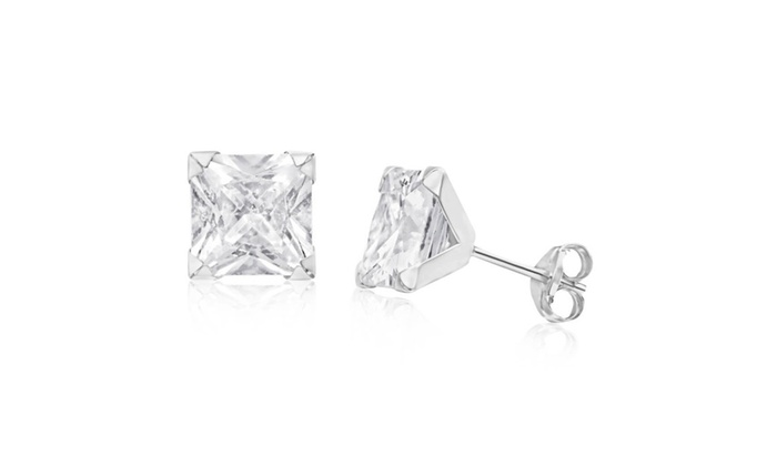 Empire Jewelry:  Sterling Silver 7 MM Princess Cut White Cubic Zirconia Stud Earrings