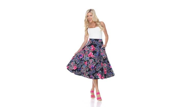 Navy/Fuchsia Midi Printed Flare Skirt