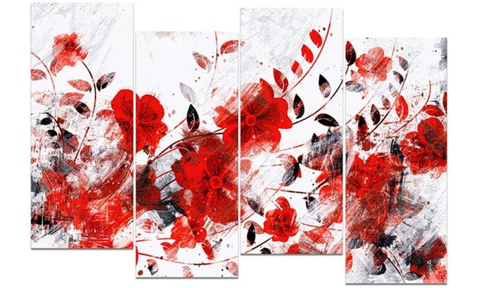 red orange flower trail floral metal wall art 48x28 4. Black Bedroom Furniture Sets. Home Design Ideas