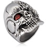 Men's Stainless Steel Two Faced Skull with Cubic Zirconia Ring