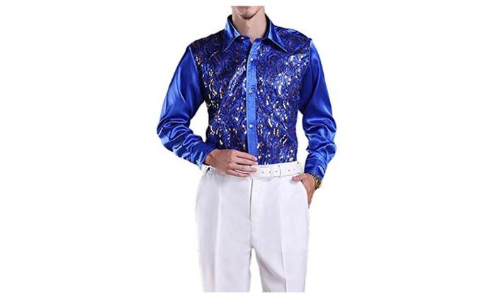 Men's Regular-Fit Satine Sequins Stage Dress Shirt