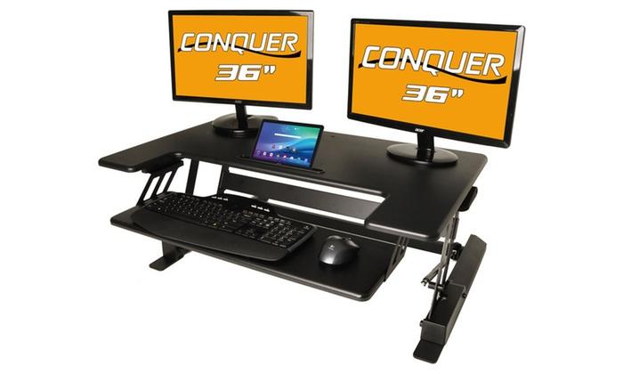 Conquer Sit To Stand Adjustable Desktop Workstation Groupon
