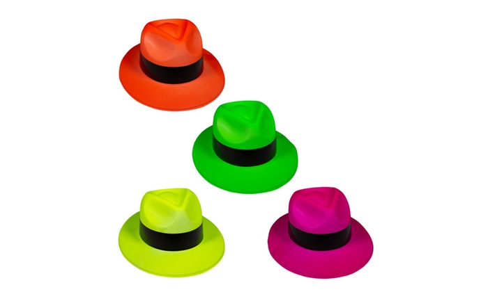 4af65b4926f03 Windy City Novelties Neon Gangster Fedora Hats - 12 Pack