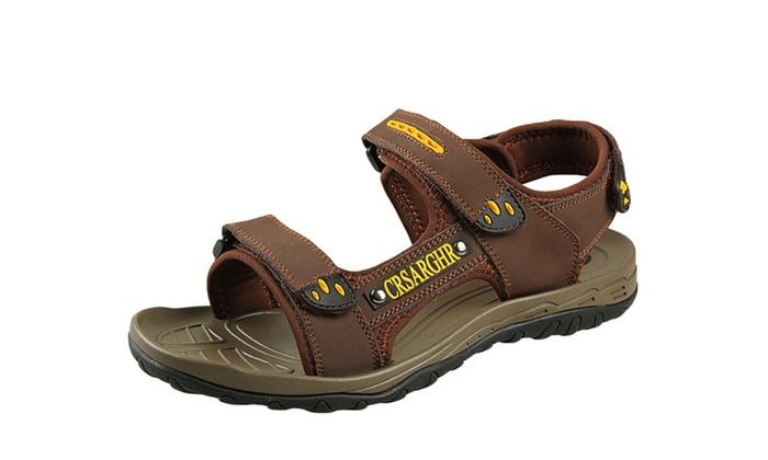Men's Leather Velcro Straps Sandal