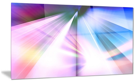 Rays of Speed Blue Abstract Digital Art Metal Wall Art 28x12 8c880998-249f-408f-a2b6-784a0422eb2d