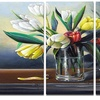 Red White Yellow Tulips - Floral Painting Metal Wall Art