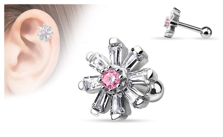 CZ Petal Flower With Pink CZ Center Tragus Barbell 1ffc859f-d743-4165-b45b-5884781b5caf