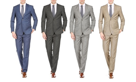 Gino Vitale Men's Slim Fit Sharkskin 2PC Suits