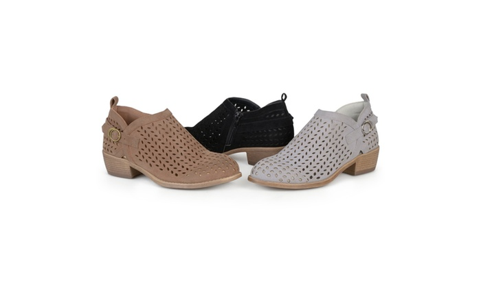 Journee Collection Womens Perforated Ankle Buckle Booties
