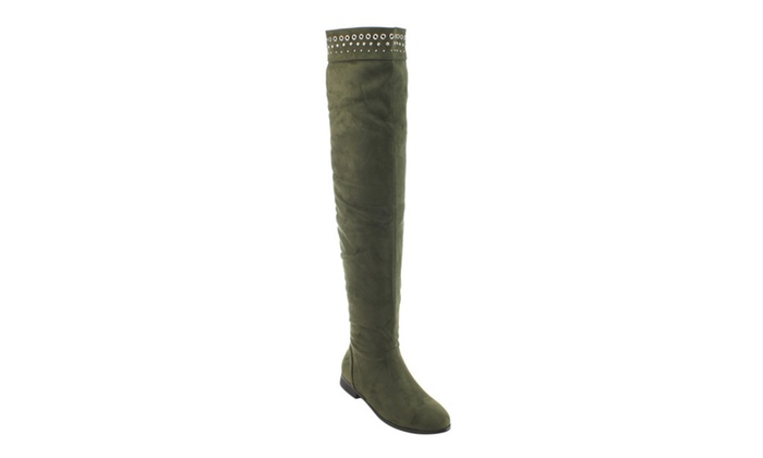 Beston AD28 Women's Studded Pull On Flat Heel Over The Knee High Boots
