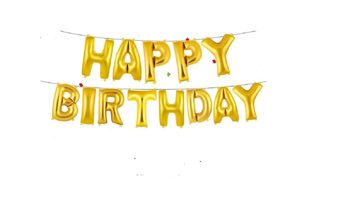Happy Birthday Balloons Banner Balloon Bunting Party Decoration Self Inflating