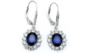 Sapphire Halo Leverback earrings in 18K White Gold