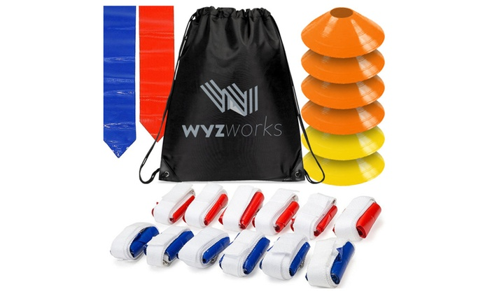WYZworks Flag Football Set - 12 Belts with 36 Flags + 6 Goal Lines Kit