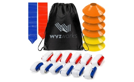 WYZworks Flag Football Set - 12 Belts with 36 Flags + 6 Goal Lines Kit c310e571-d565-4745-b957-53d53fab0b08