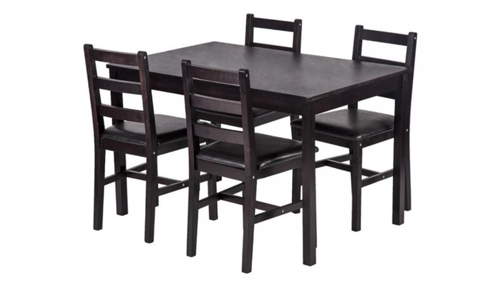 93fa967c9be Dining Table with 4 Chairs Set Pine Wood Kitchen Dining Room Furniture