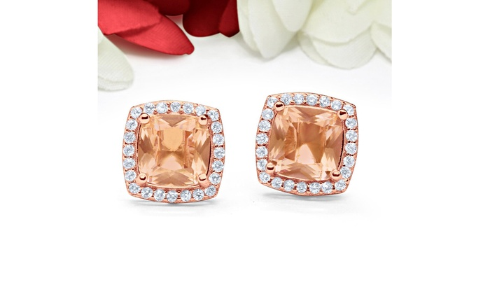 .925 Sterling Silver Square Halo Cushion Cut CZ Crystal Stud Earrings
