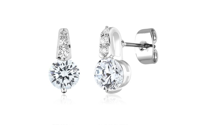 Cubic Zirocnia Teardrop Stud Earrings