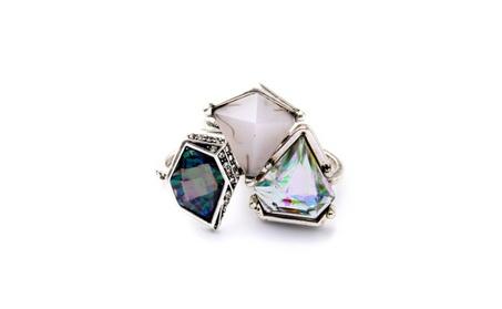 Geometric Gemstone Rings with Sparkle - Set of 3 4255a75d-56a8-48f4-9b26-6fa44f600b1b