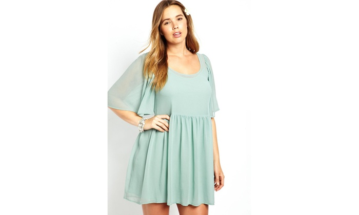 Women\'s Mint Angel Sleeve Mini Plus size Smock Dress | Groupon