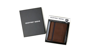Geoffrey Beene Men's trifold wallet with color-block insert and clear id window