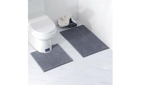 2PCS Bathroom Rugs Set Non Slip Water Absorbent Bath Toilet Mat 3 Colors