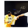 Autographed Magic Johnson & Larry Bird Los Angeles Lakers & Boston