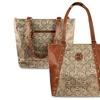 Zodaca Jacquard Fabric Tote Bag Brown