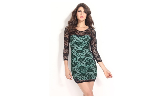 Women's 3/4 Sleeves Lace Surface Turquoise Mini Dress - one size