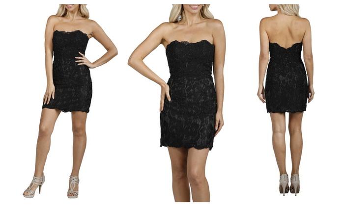 feaf3f469a15 Scallop Strapless Short Black Evening Dress   Groupon