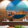 San Francisco Skyline at Night' Ultra Glossy Cityscape Metal Circle Wall Art