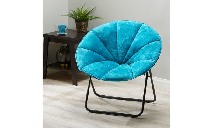 Brilliant Mainstays Folding Plush Saucer Chair Teal Faux Fur Alphanode Cool Chair Designs And Ideas Alphanodeonline